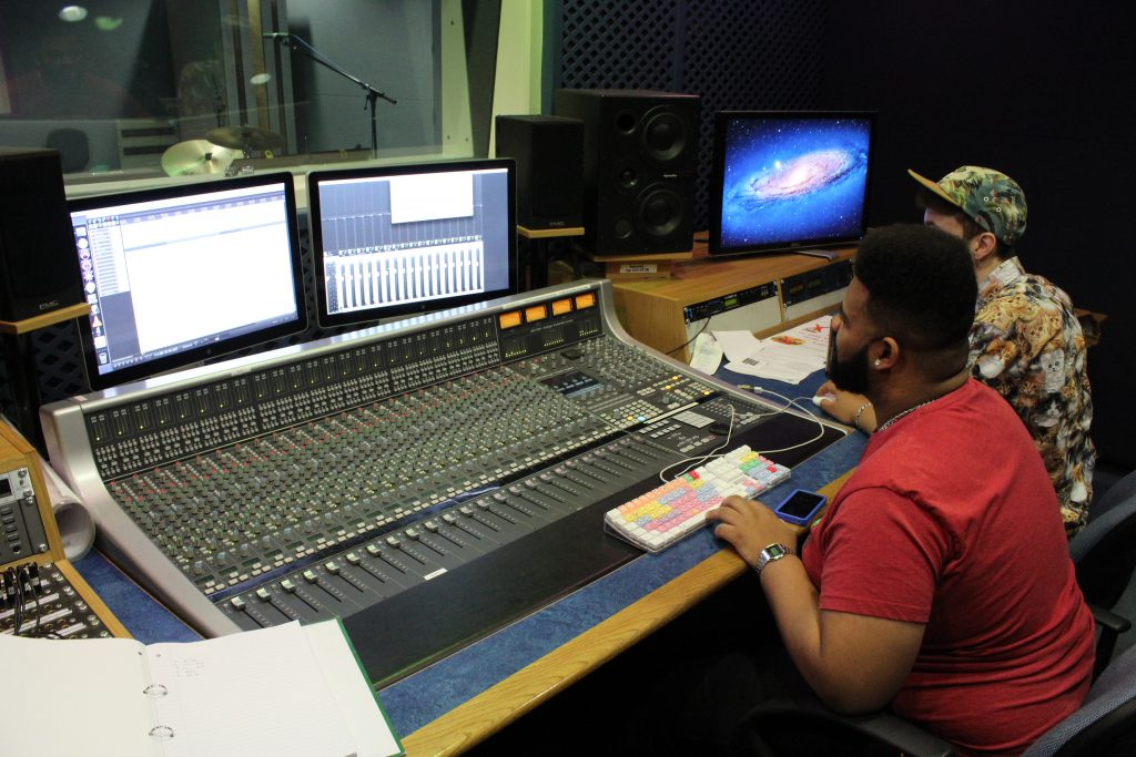 The SSL AWS mixing console was beautuful to work with for this project. We tried to utilise the channel EQ as much as possible to retain an analogue feel.