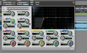The Pro Tools EQ being utilised as a high pass filter. A simple solution for podcasts